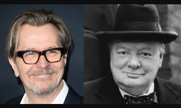 Gary Oldman &  Winston Churchill Whom He Plays in 'The Darkest Hour' due to be released late 2017